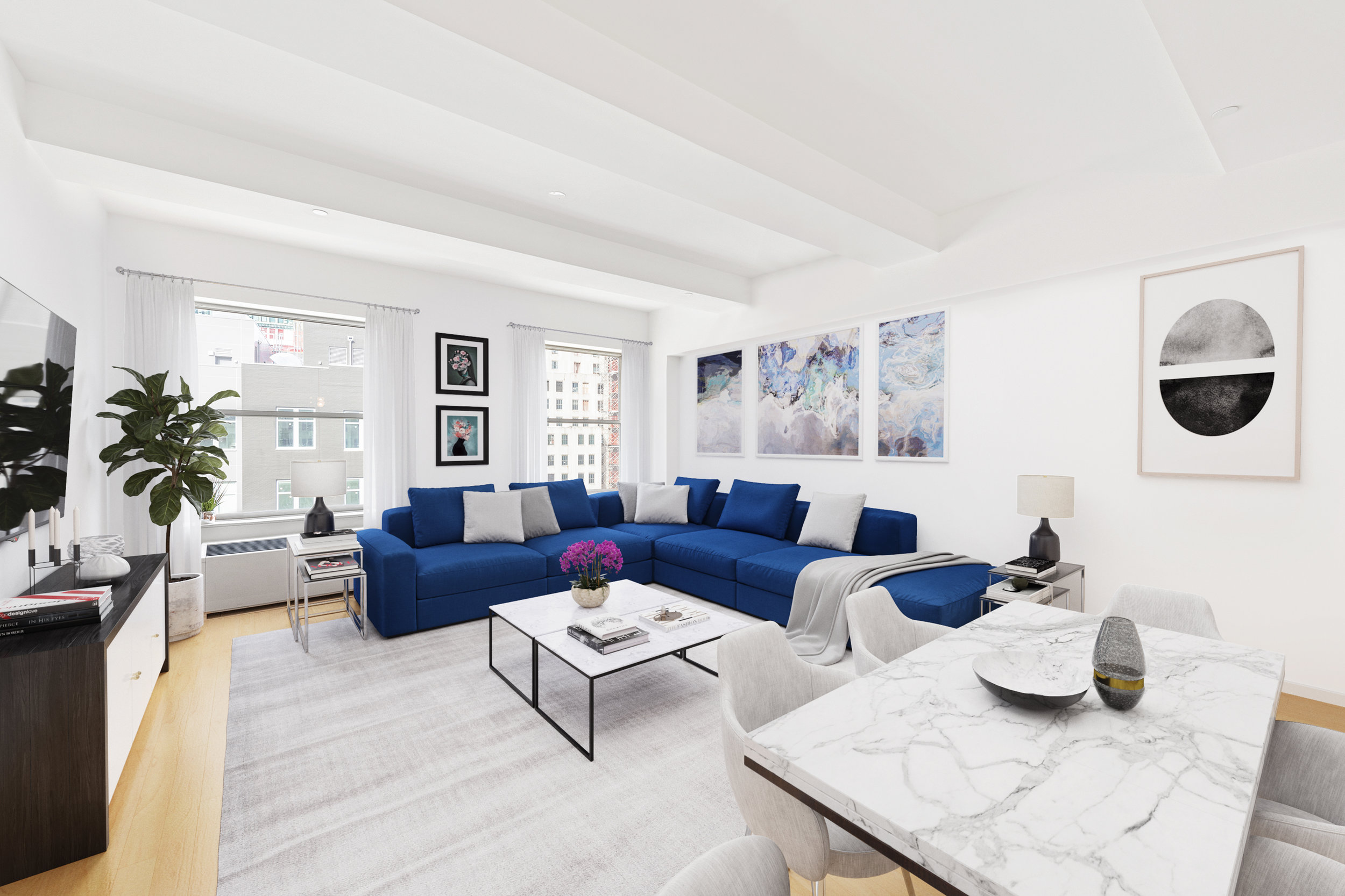 15 BROAD STREET, 2814 - $1,899,000 // 2 Beds // 2 Baths // 1,579 SQFTA chic condo nestled in the heart of the Financial District; this luminous high-floor home blends an array of contemporary finishes with a thoughtful, efficient layout that maximizes space. This convertible 3 bedroom home spans 1,579 sq. ft. and includes 1 bedroom, 2 bathrooms, 2 spacious home offices with 11-ft beamed ceilings, huge windows western exposure, gorgeous hardwood floors, sleek built-ins, and a convenient in-unit Bosch washer/dryer.