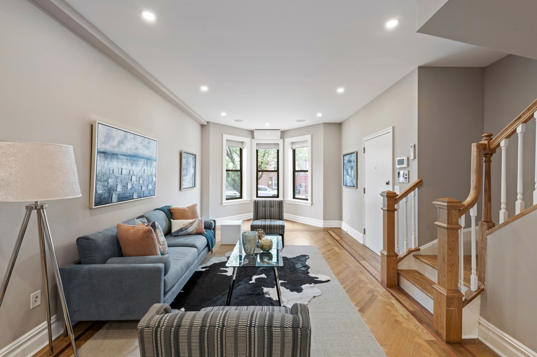 459 BRAINBRIDGE STREET - $1,750,000 // 4 Beds // 3.5 Baths // 3,300 SQFTA gut-renovated 2-family townhouse graced with pristine finishes and a clever layout, 459 Bainbridge is a modern expression of classic Brooklyn living. The 3-story house sits on a 20' x 100' lot and contains an income-producing rental unit.