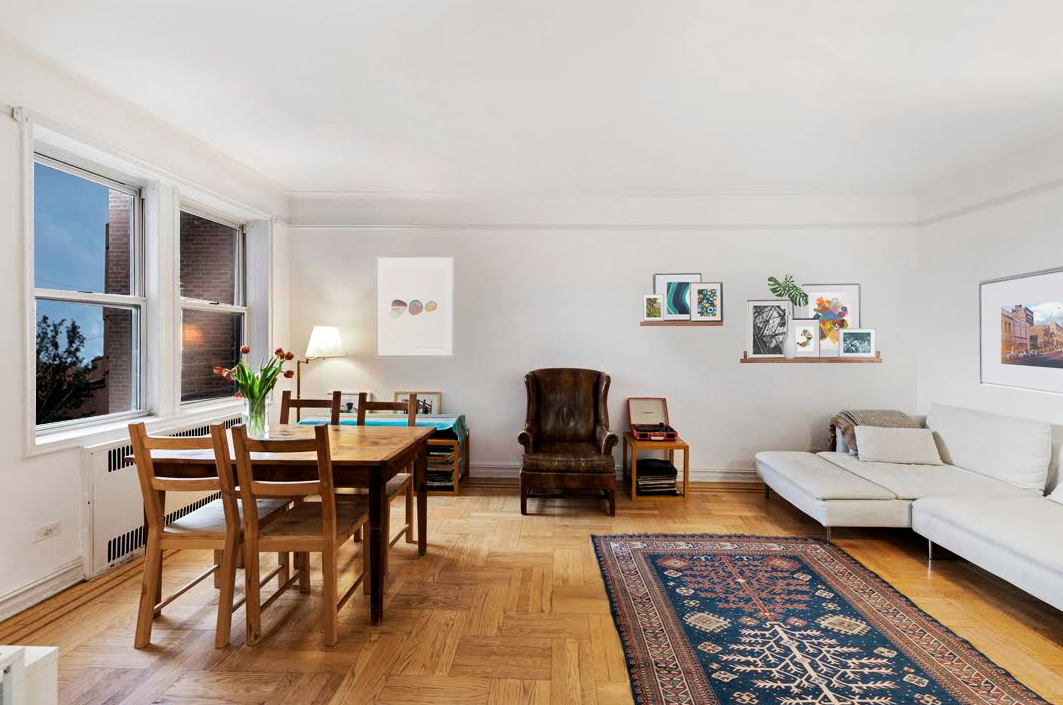 414 ALBEMARLE ROAD, 4H - $465,000 // 1 Beds // 1 BathsApartment 4H at 414 Albemarle Road, currently configured as a one bedroom plus nursery, is an oversized prewar one bedroom in an elevator co-operative in prime Kensington. Located on a gorgeous tree-lined street just a few blocks to the F & G trains at Church Avenue, unit 4H boasts beautiful period details throughout, including pristine parquet flooring with decorative border, high ceilings, rounded arches, and original built-in shelving and storage.