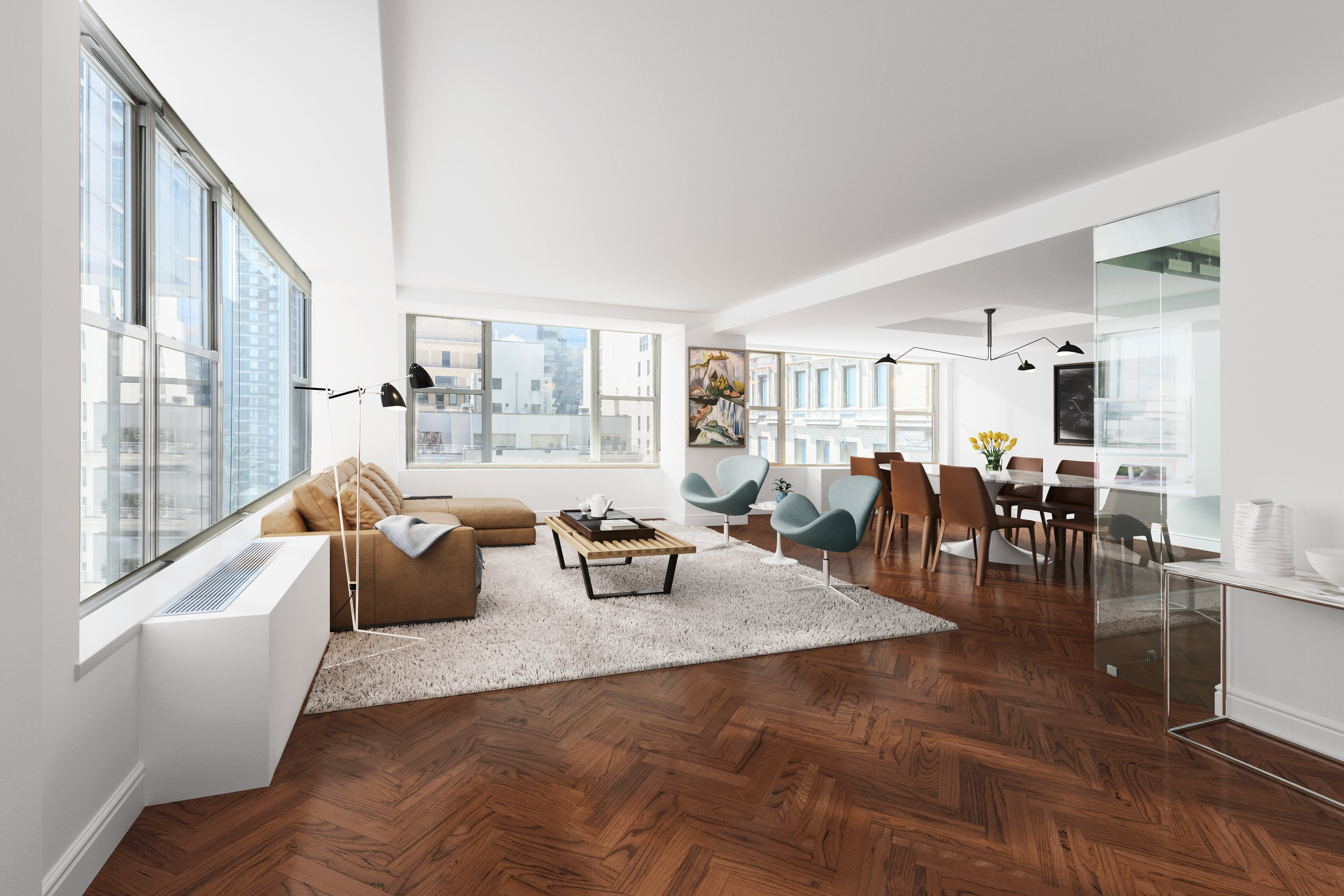 117 EAST 57TH STREET, 20A - $3,200,000 // 4 Beds // 3.5 Baths // 2,08 SQFTA luxurious corner condo nestled a few blocks from Grand Army Plaza and Central Park, this 3 or 4 bedroom, 3.5-bathroom home blends a collection of high-end finishes with a thoughtful layout and classic city views.