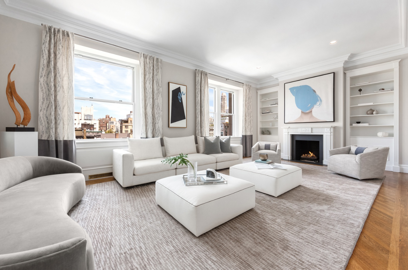 26 EAST 63RD STREET, PHB - $11,999,000 // 5 Beds // 5 Baths // 3,700 SQFT // 800 EXT SQFTA palatial duplex penthouse boasting a rooftop solarium and designer fixtures and finishes, this one-of-a-kind 5-bedroom condo is a paragon of contemporary Lenox Hill luxury. Features of this incredible 4,500 sq. ft. home include gorgeous herringbone hardwood floors, airy 9 to 11 ft. ceilings, chic built-ins and archways, a gas-burning fireplace, and 800 sq. ft. of private outdoor space with breathtaking Central Park and skyline views.