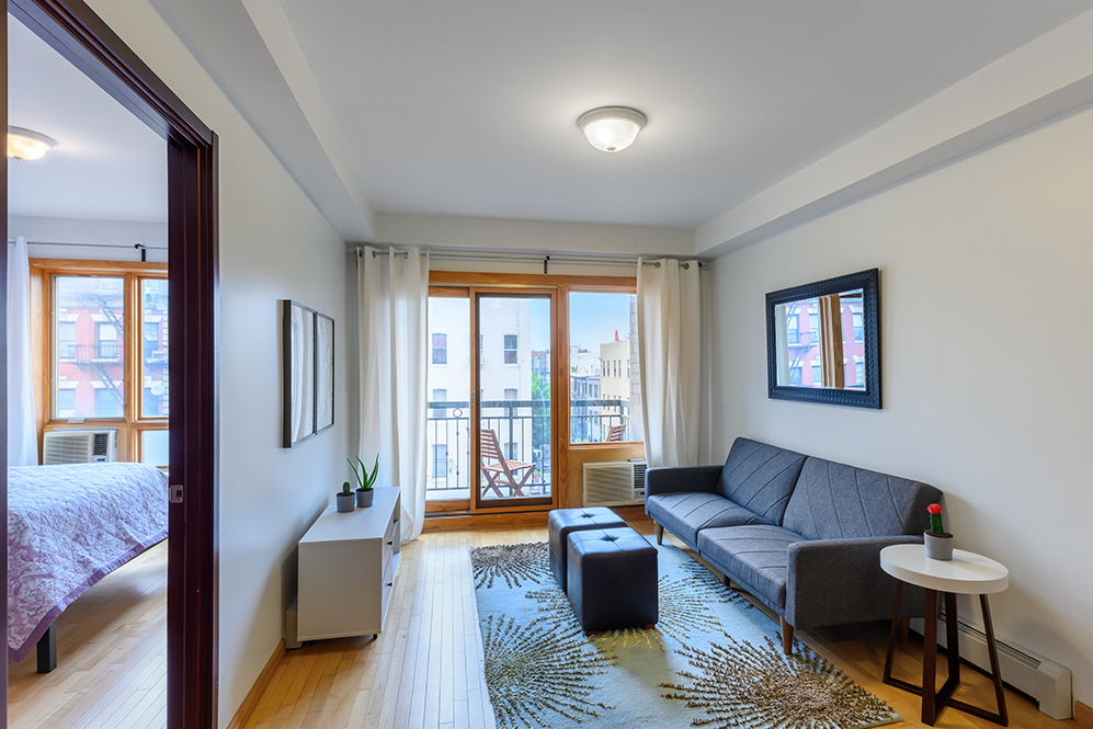 228 BUSHWICK AVENUE, 4B - $600,000 // 1 Bed // 1 Baths // 605 SQFTA chic, south-facing condo boasting a private balcony in prime East Williamsburg, this 1-bedroom, 1-bathroom home is a paradigm of contemporary Brooklyn living. Features of this 605 sq. ft. apartment include gorgeous white oak floors, huge windows, a private balcony, and a convenient in-unit washer/dryer, very low monthly common charges and a continual 421A tax abatement expiring in 2027!