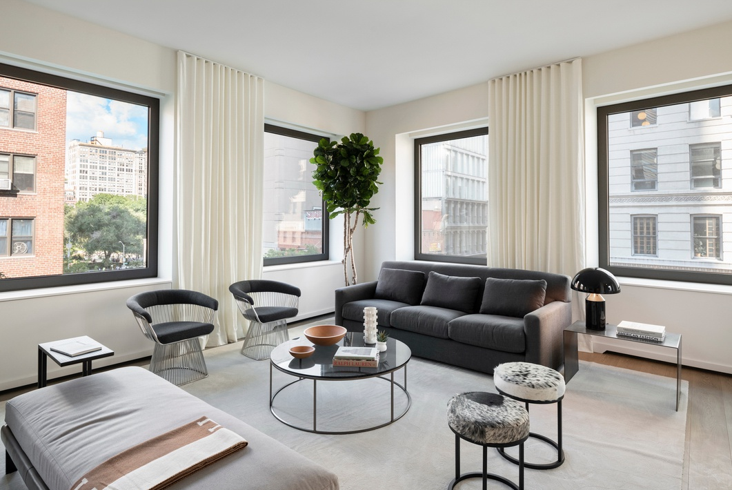 116 UNIVERSITY PLACE, 3 - $7,000,000 // 3 Beds // 3.5 Baths // 3,056 SQFTA palatial full-floor condo located a block away from Union Square, this brand new 3 or 4-bedroom, 3.5-bathroom redefines contemporary Greenwich Village luxury. Features of this 3,056 sq. ft. apartment include engineered wide plank oak flooring, direct elevator entry, 14 oversized windows with northern and eastern exposure, soaring ceilings over 10-ft in height, multi-zone heating and cooling, an open-concept layout, a cozy library, and a large laundry/utility room with a sink and an LG washer/dryer.
