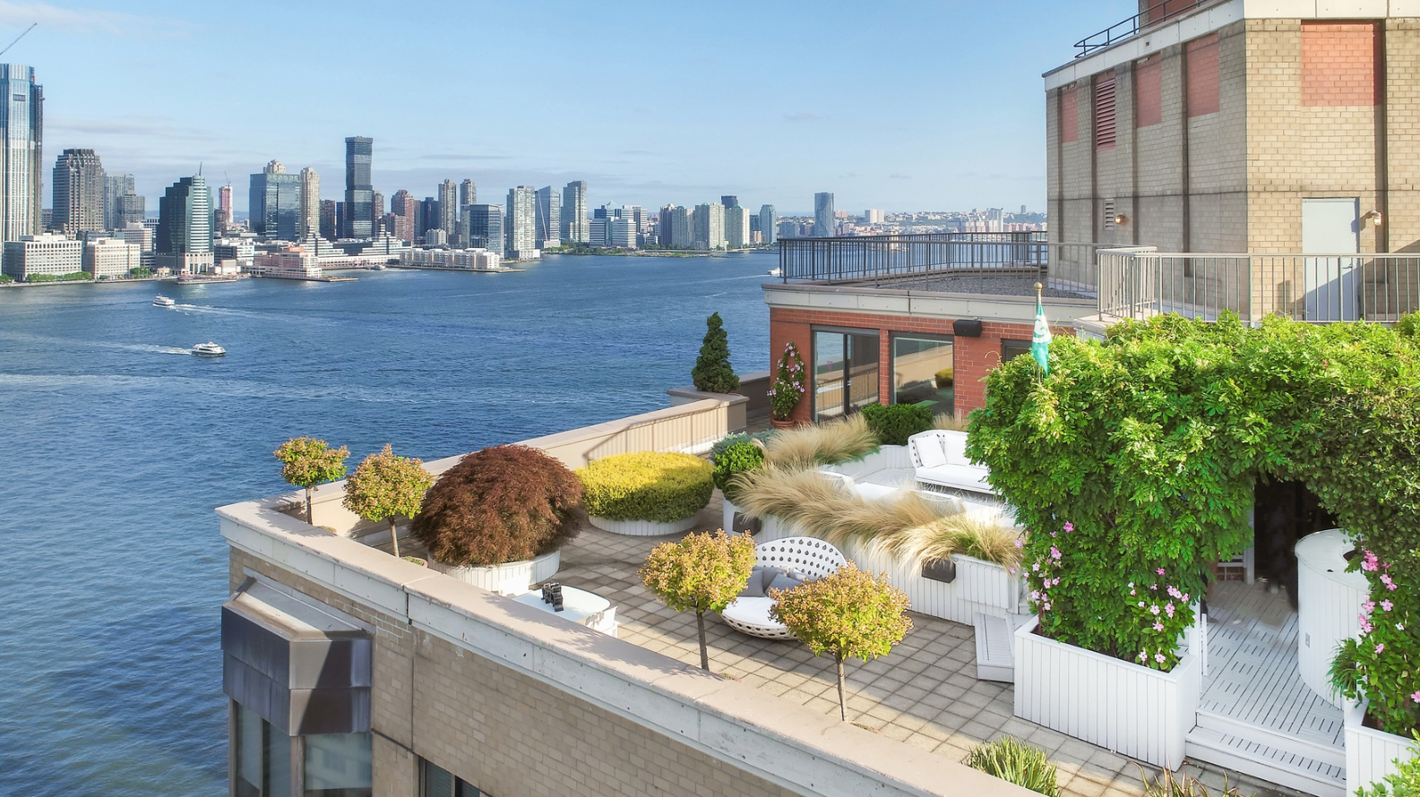 380 RECTOR PLACE, PHJ - $4,000,000 // 2 Beds // 2.5 Baths // 2,199 SQFT // 2,400 EXT SQFTA sublime duplex penthouse boasting a 2,400 sq. ft. terrace and protected panoramic views of the Hudson River, the Upper Bay, and the Statue of Liberty. Features of this home include elegant marble tile flooring, huge picture windows with northern, southern, and western exposure, and a wraparound terrace with built-in planters, a raised sundeck, and a hot tub Jacuzzi.