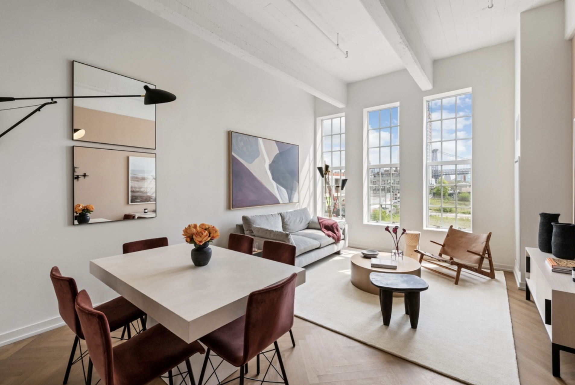184 KENT AVENUE, D615 - $1,675,000 // 2 Beds // 2 Baths // 942 SQFTThis tremendous split-two bedroom home offers stunning Southern views. Featuring soaring beamed ceilings, this phenomenal space epitomizes the ideal in authentic Williamsburg loft living. The master bathroom features Pietre DItalia Nero mosaic floor tile and honed Gioia Carrara stone walls. The sprawling living area features Herringbone tobacco smoked oak wood flooring and includes a stacked Asko washer and dryer.