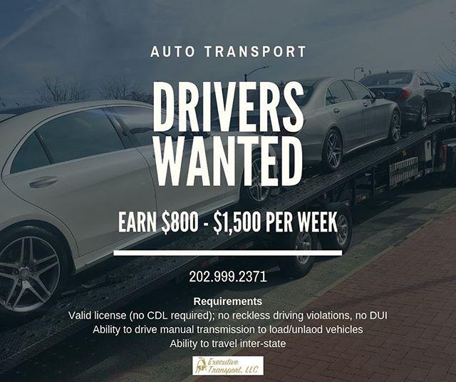 @executivetransportllc is hiring drivers! Interested? 202.999.2371 #nowhiring #truckdrivers #hotshottrucking