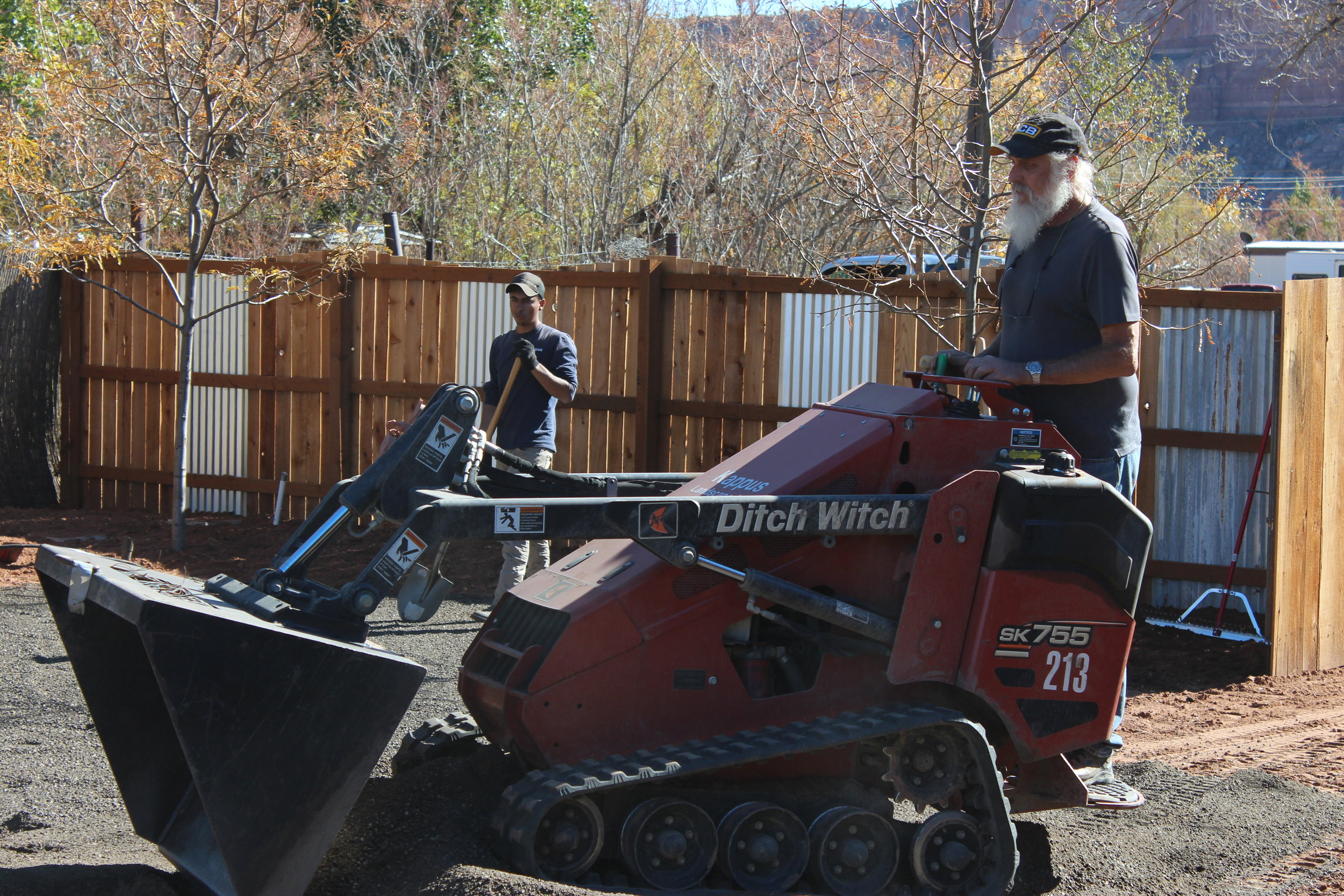 Kappus Landscape Sprinkler's Owner, Kurt Kappus, operates machinery while helping complete a landscaping project for the Bears Ears Visitor Center in Bluff, Utah. Kappus donated the labor and landscaping materials for this project.