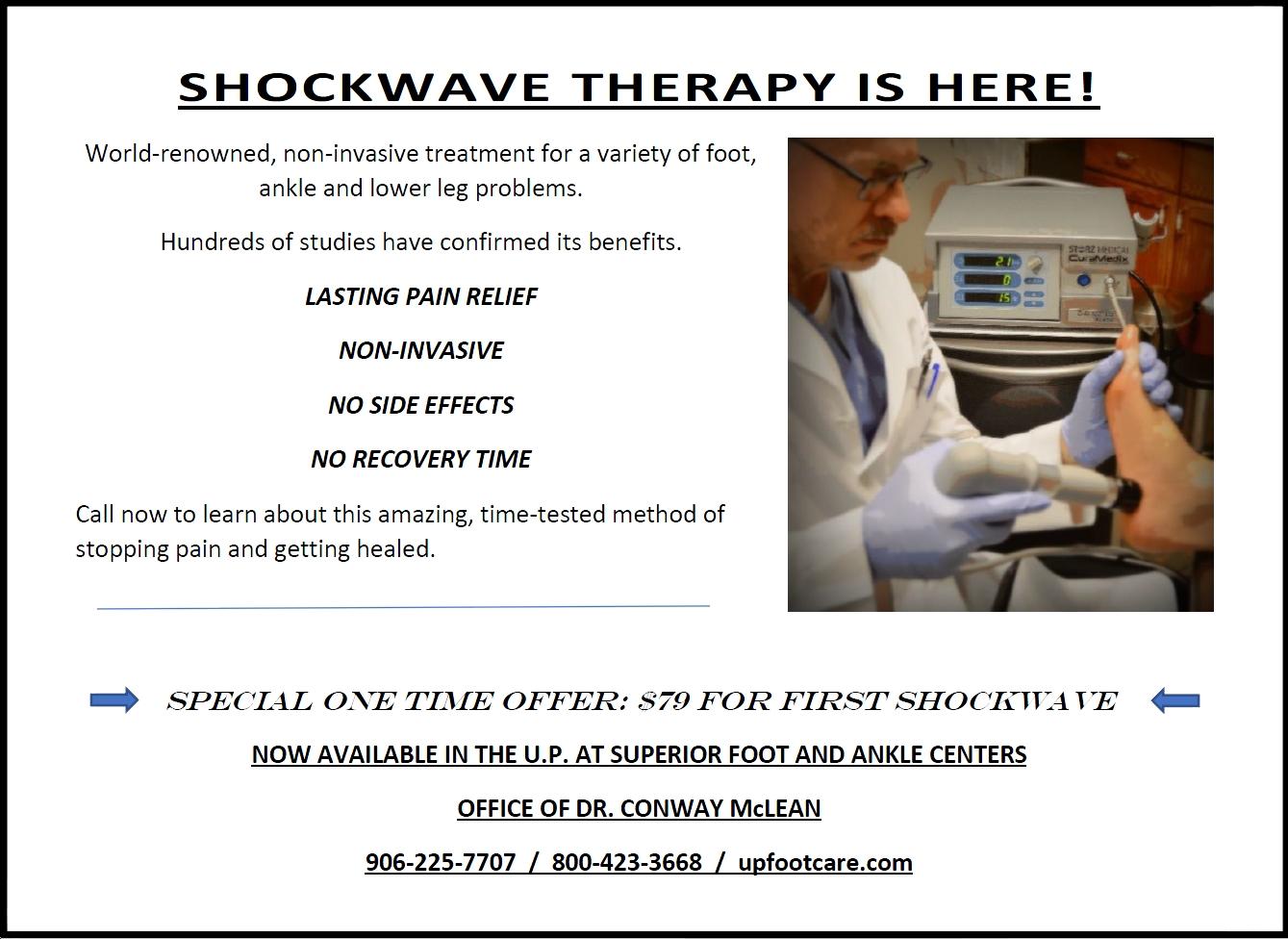 shockwave therapy for pain relief  - podiatrist in marquette, escanaba, upper peninsula, michigan