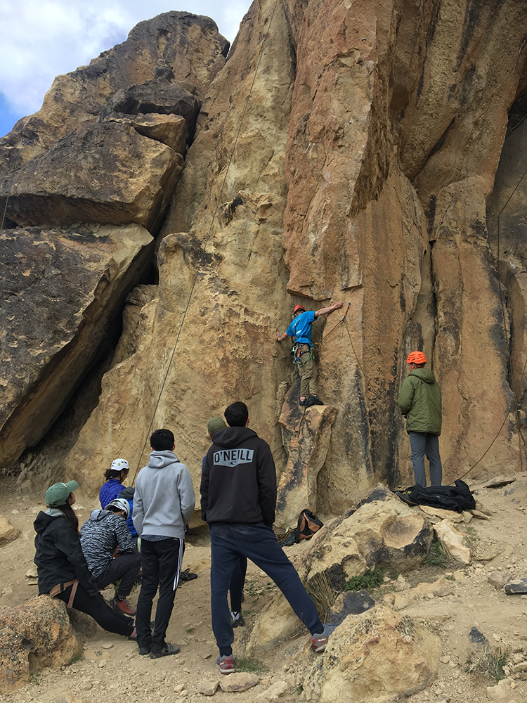 Climbing as a group. Photo courtesy of Katie Gavares.