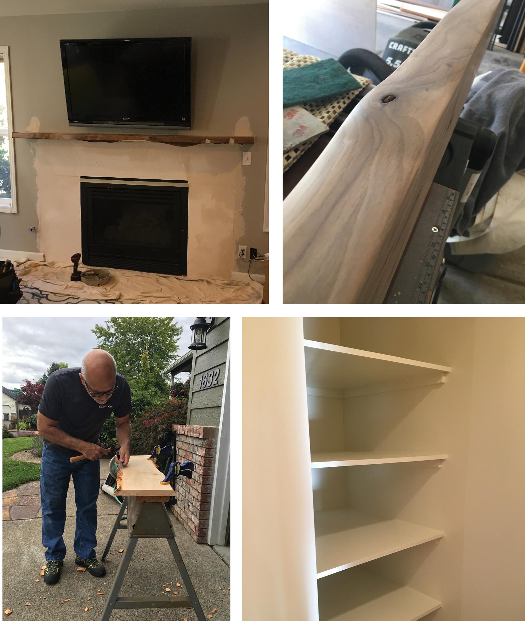 Live Edge Mantel and Bookshelves - Design and Construction