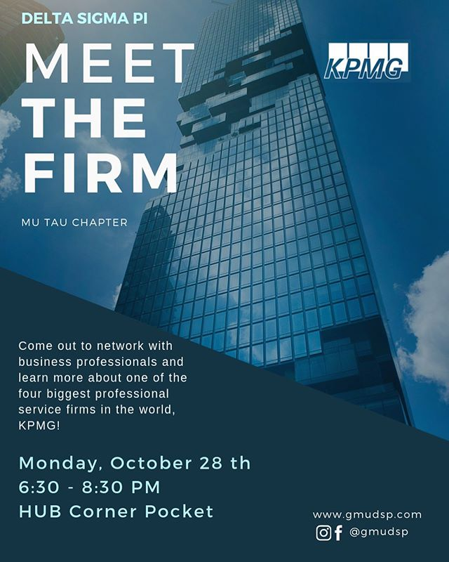 🗣 Come Meet the Firm with KPMG on Monday, October 28th. There will be a panel of different KPMG employees speaking about their experience throughout their careers, path from college, and aspirations for where they want their careers to go. . . There will be free food and refreshments and plenty of time to network with other professionals.