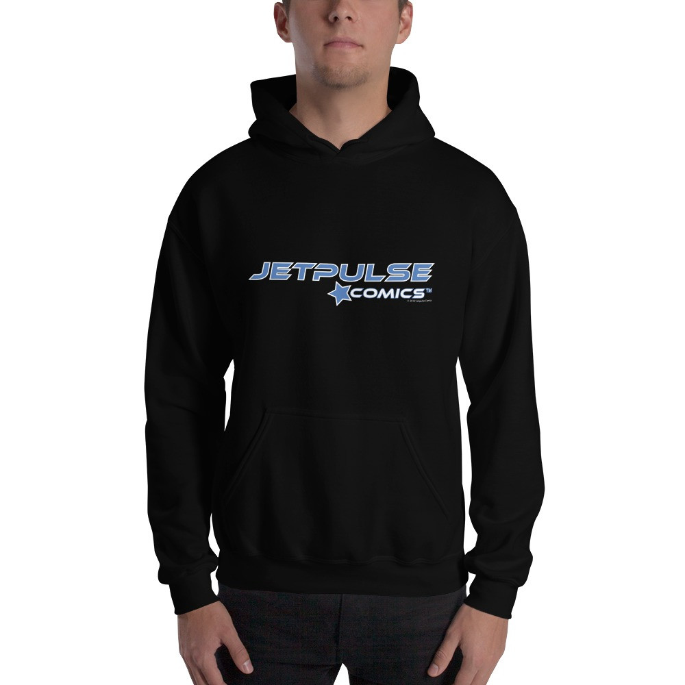 Jetpulse Comics™ Logo Hoodie   The colorful screen printed graphic boldly stands out against the  black hoodie, making this a great pairing partner for your favorite pair of jeans. Each hoodie is made from 50% cotton/50% polyester.  Double-lined hood with matching drawcord.  Front pouch pocket.  Price $31.00