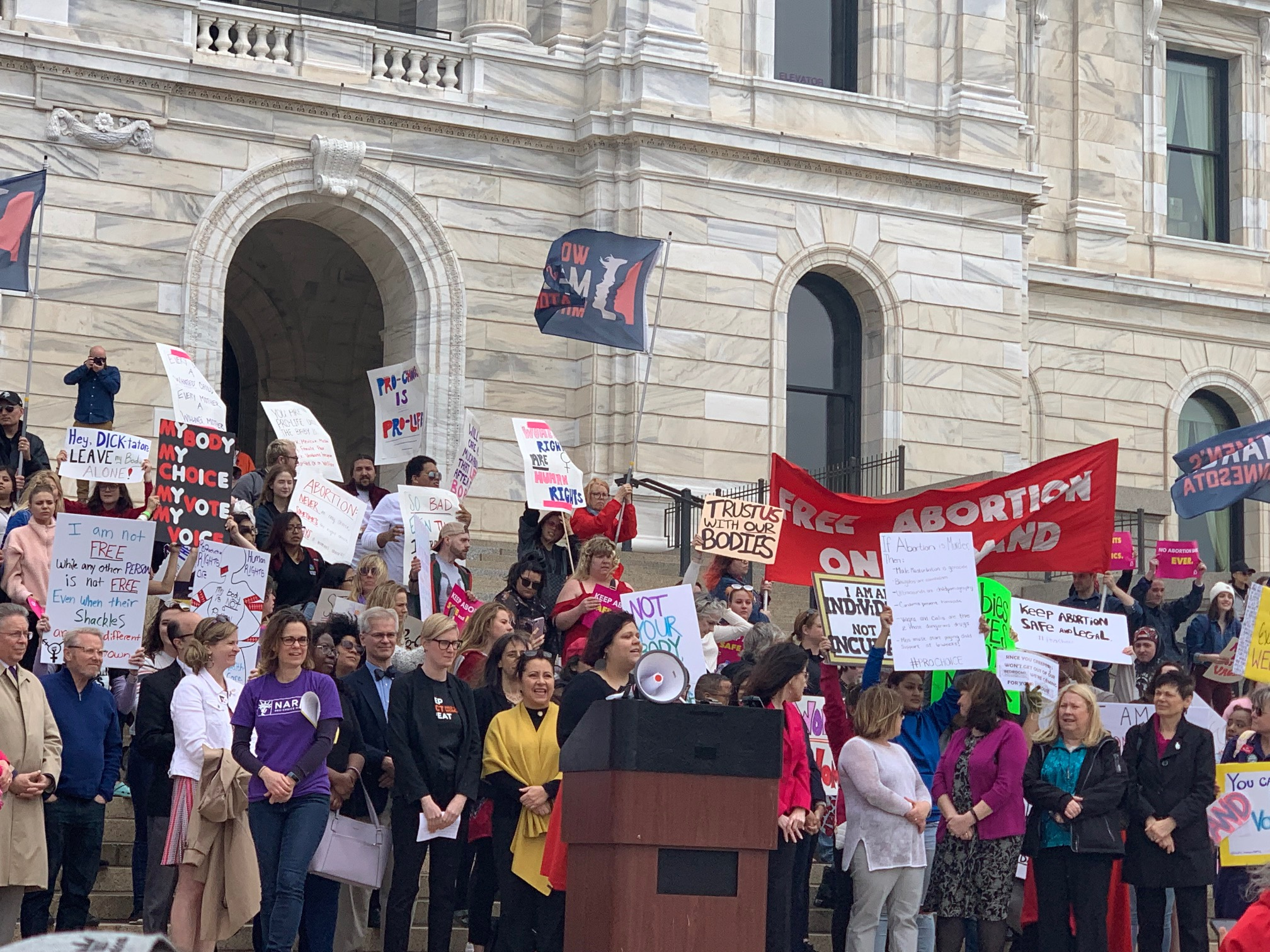 Angelica Perez, Board Vice Chair, Speaking at the Minnesota State Capitol at the Stop the Bans Rally