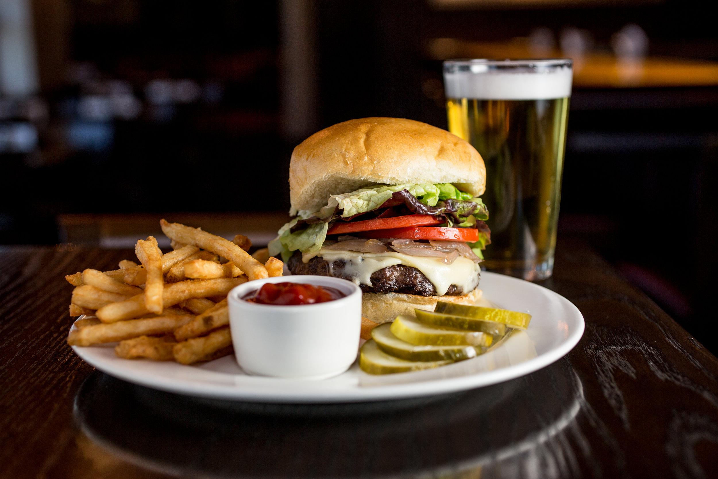 Hamburger Fries and Beer