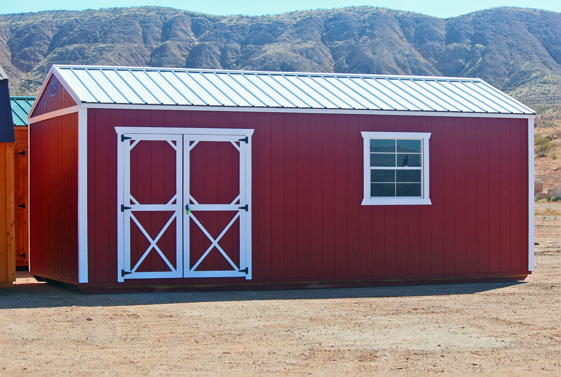 Red painted Side Utility Shed - Vegas Sheds