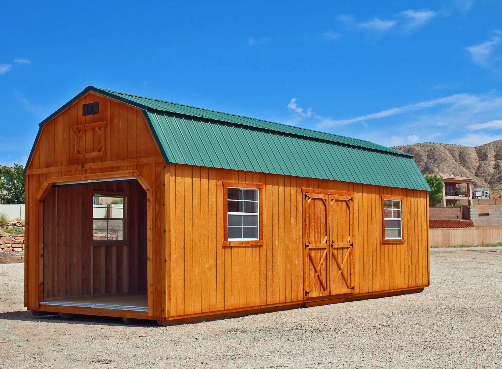 Stained Portable Garage - Vegas Sheds