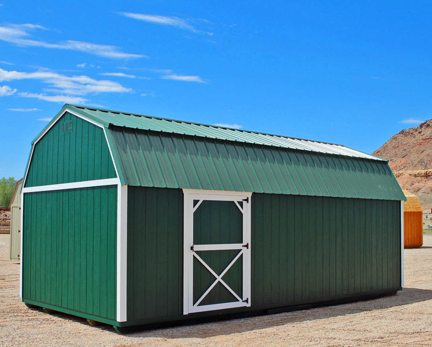 Painted LP SmartSide Panels and free metal roof upgrade - Vegas Sheds