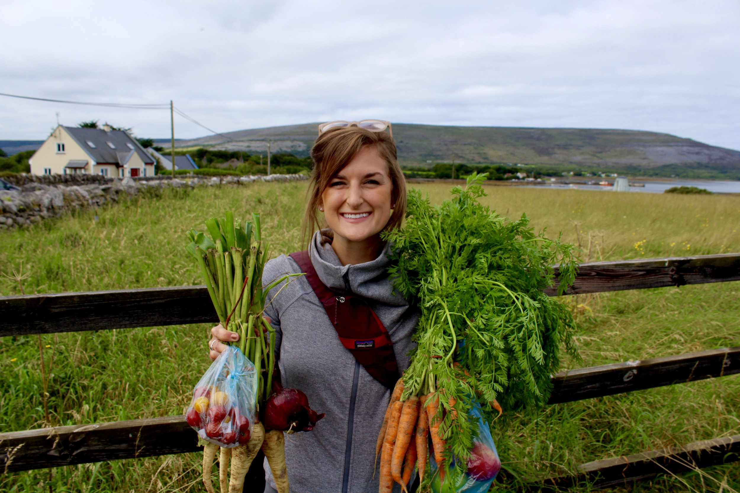 Me and fresh veggies from the Ballyvaughan Farmer's Market!