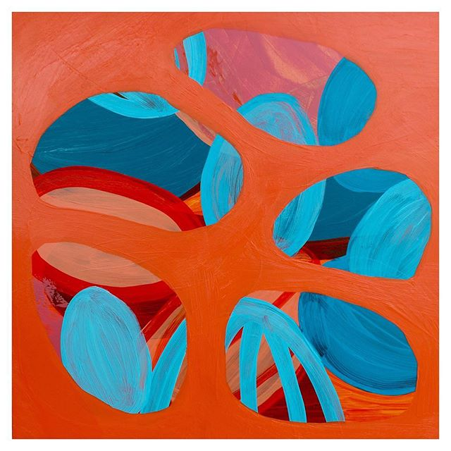"""It's graduation day and a gorgeously sunny one in Ireland. Cheers to new beginnings. """"Settlement of the Unsettled"""" Acrylic on Board, 12x12in, 2019 . . . #contemporarypainting #contemporaryart #josefalbers #abstractpainting #colorful #orange #blue #paint #painter #painting #fineart #abstractart #artist"""
