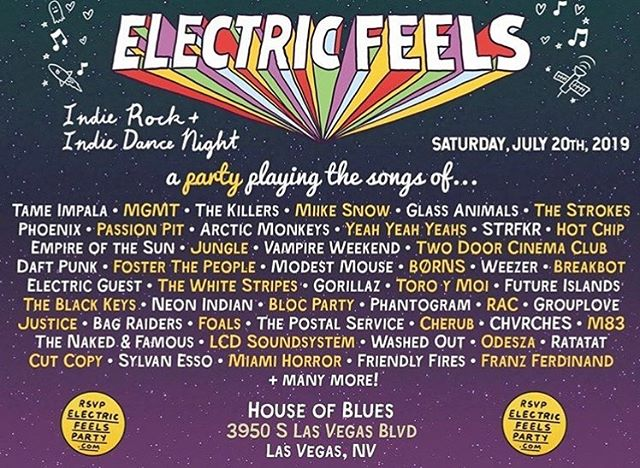playing some songs this saturday (7/20) 9pm at house of blues w/ @electricfeelsparty. let's do some dancing!⚡️get your tix at electricfeelsparty.com
