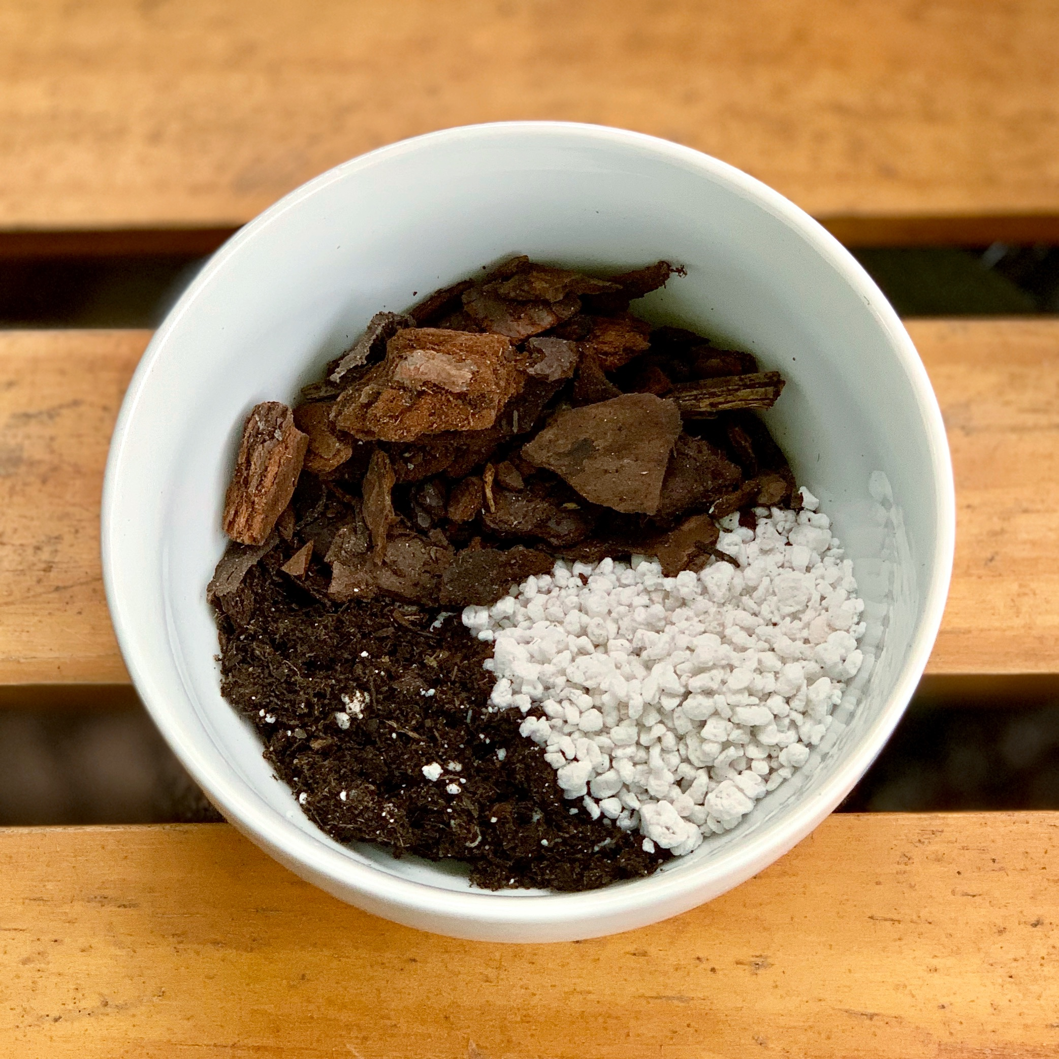 "Clockwise from bottom left:  Fox  Farm ""Ocean Forest"" soil; fir bark; perlite"