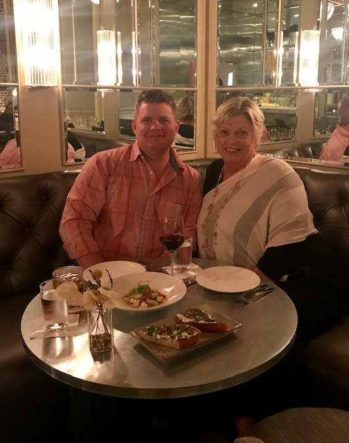 Dede enjoying a night out at Tradd's with her son Thomas.