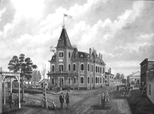 "Socorro County Courthouse painting by León Trousset (1885) Photograph from poster ""New Mexico in the Guilded Age 1880-1990"" an exhibit at the Palace of the Governor, 1980."