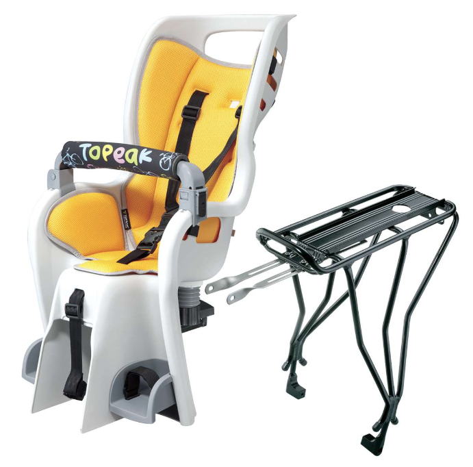 Topeak Child Carrier - Suitable for ages 1-4 years; max. weight of the child = 20kg. Helmets provided.