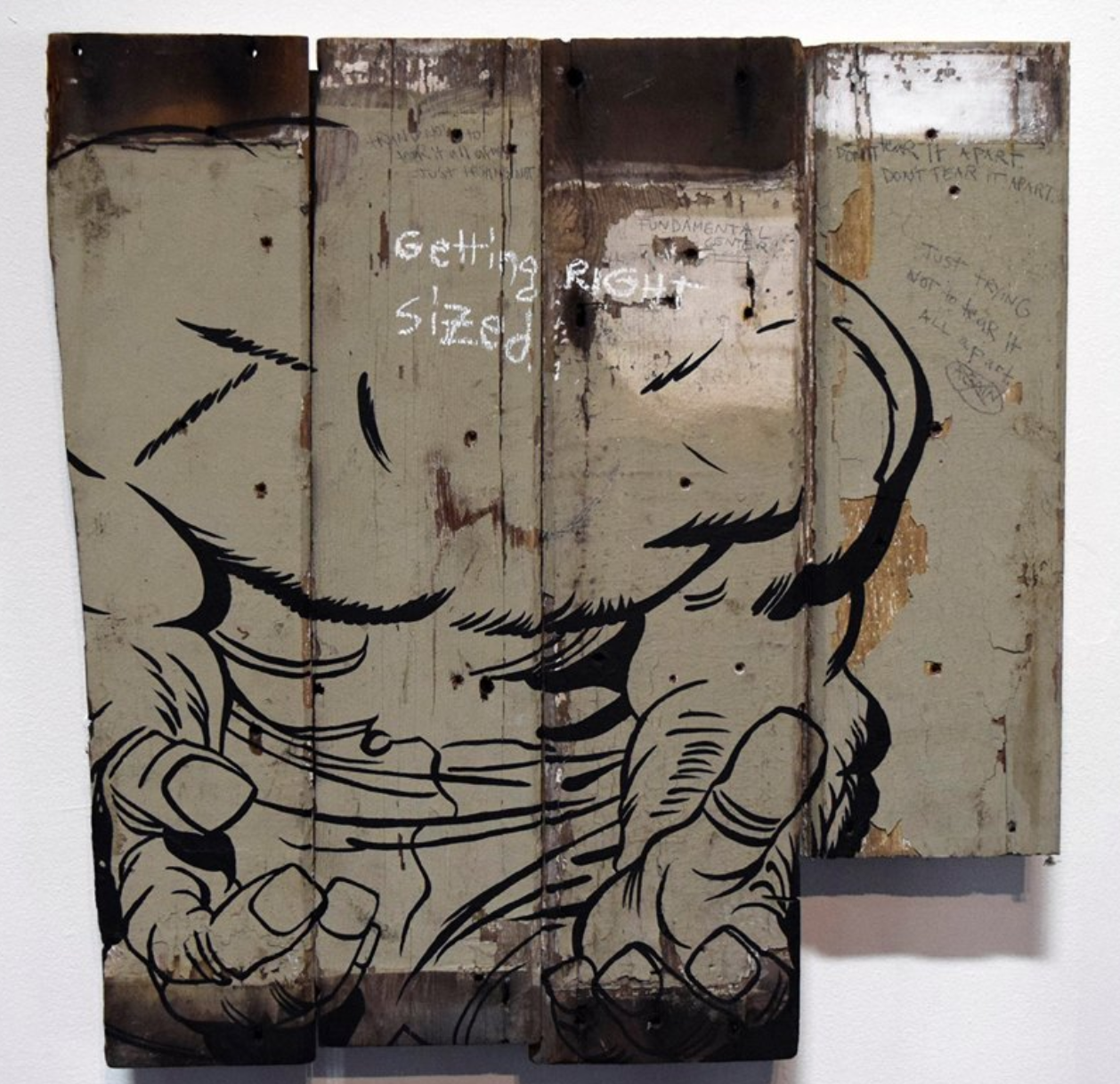 "John Felix Arnold III Don't Go Hulk"" Acrylic Lacquer, Graphite, and Pastel on Found Wood Fencing Assemblage 30 x 30"""