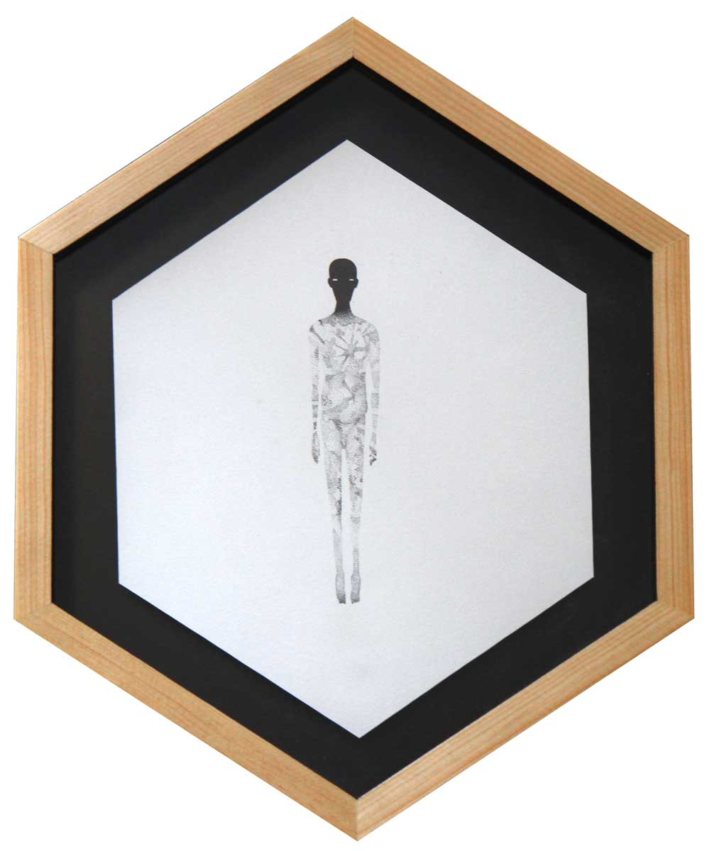 """Herbert Baglione Past, Present & Future Series # 7 Ink and Gouache on Paper 13"""" x 9.5"""" ( framed )"""