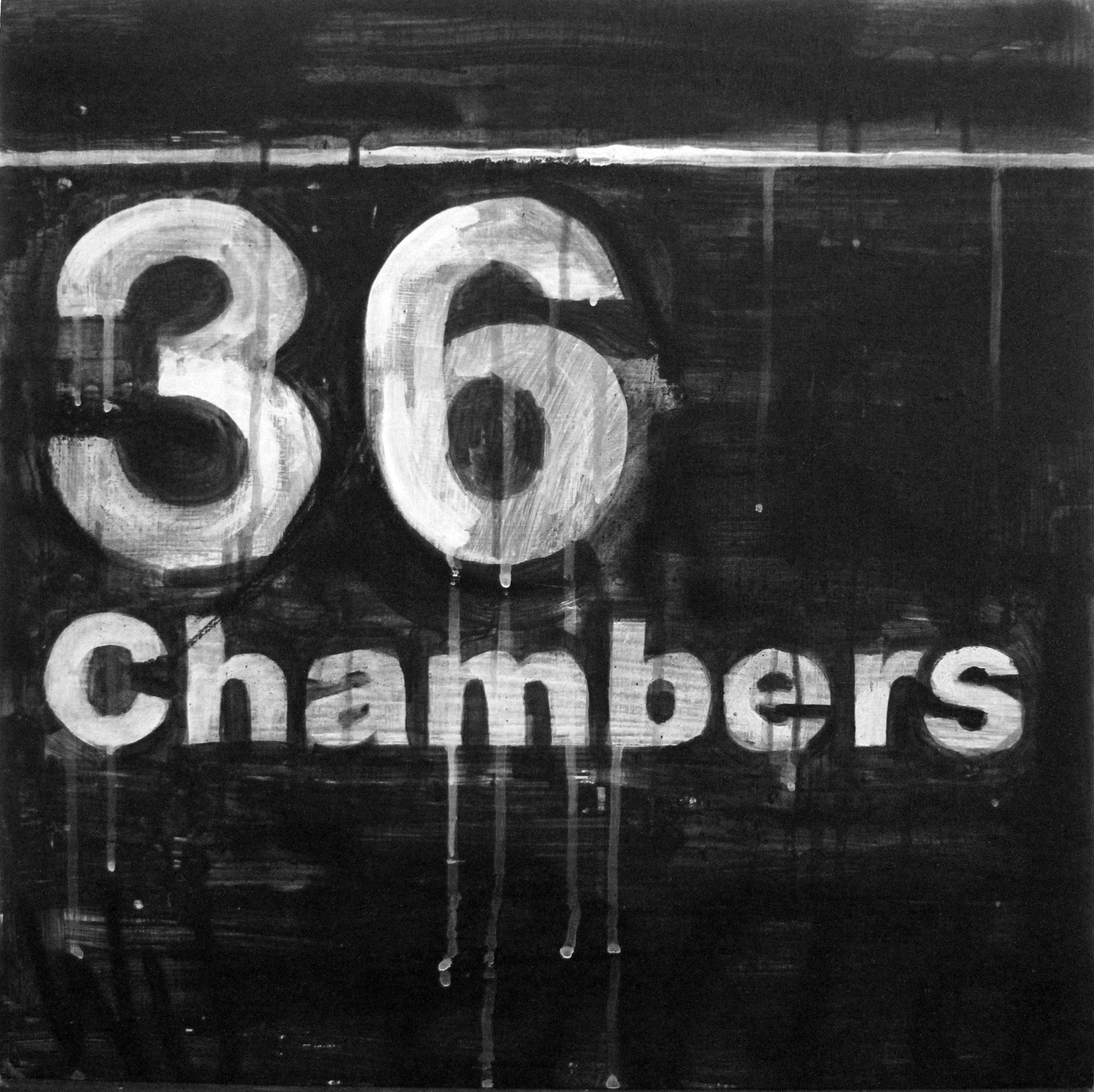"""Raul Barquet 36 Chambers, 2017 Acrylic and enamel on wood panel 20"""" x 20"""""""