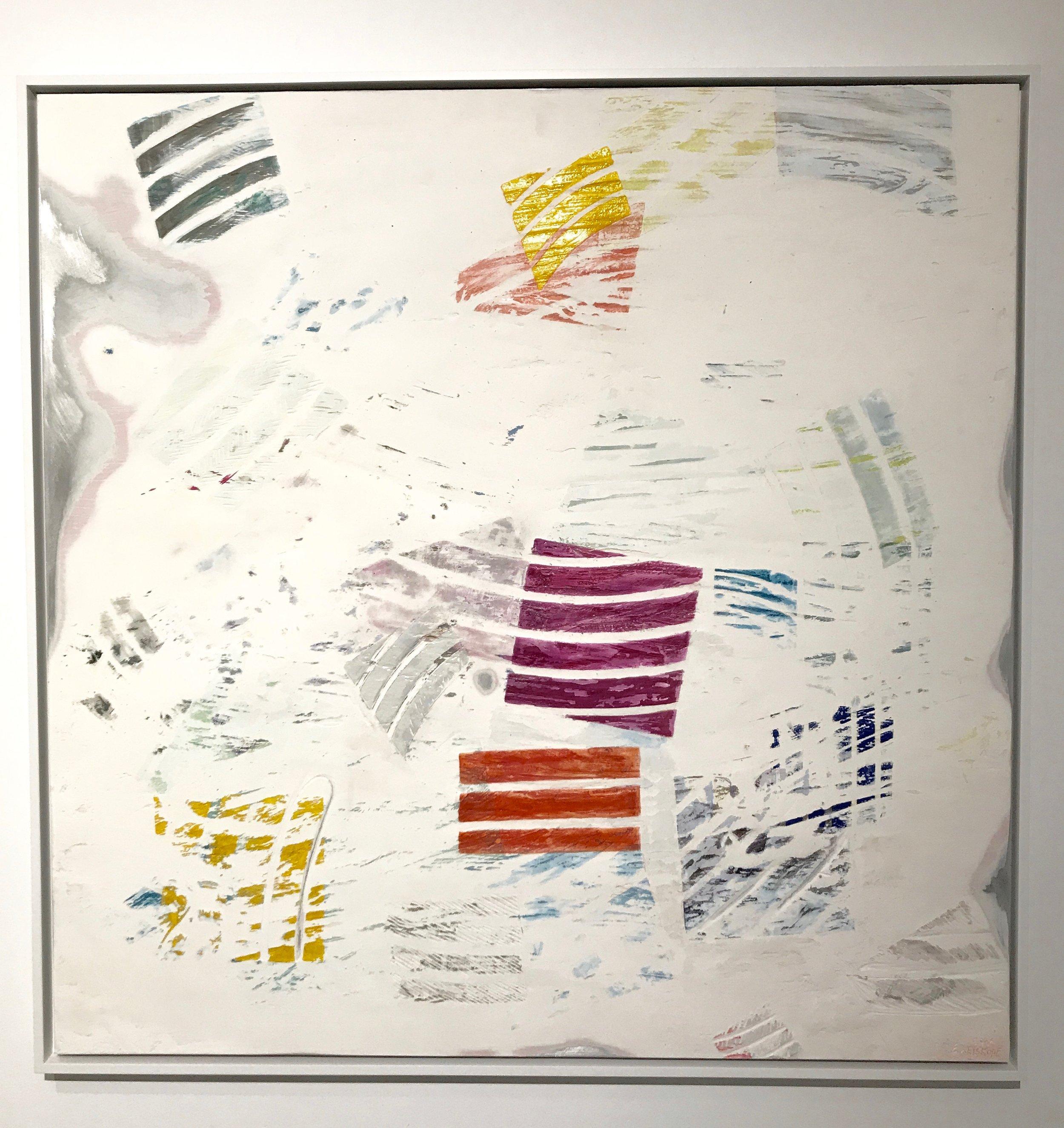 "Emily Weiskopf Matter (of Transformation) 2016 Plaster, enamel, and dye on Aluminum 36"" x 36"""