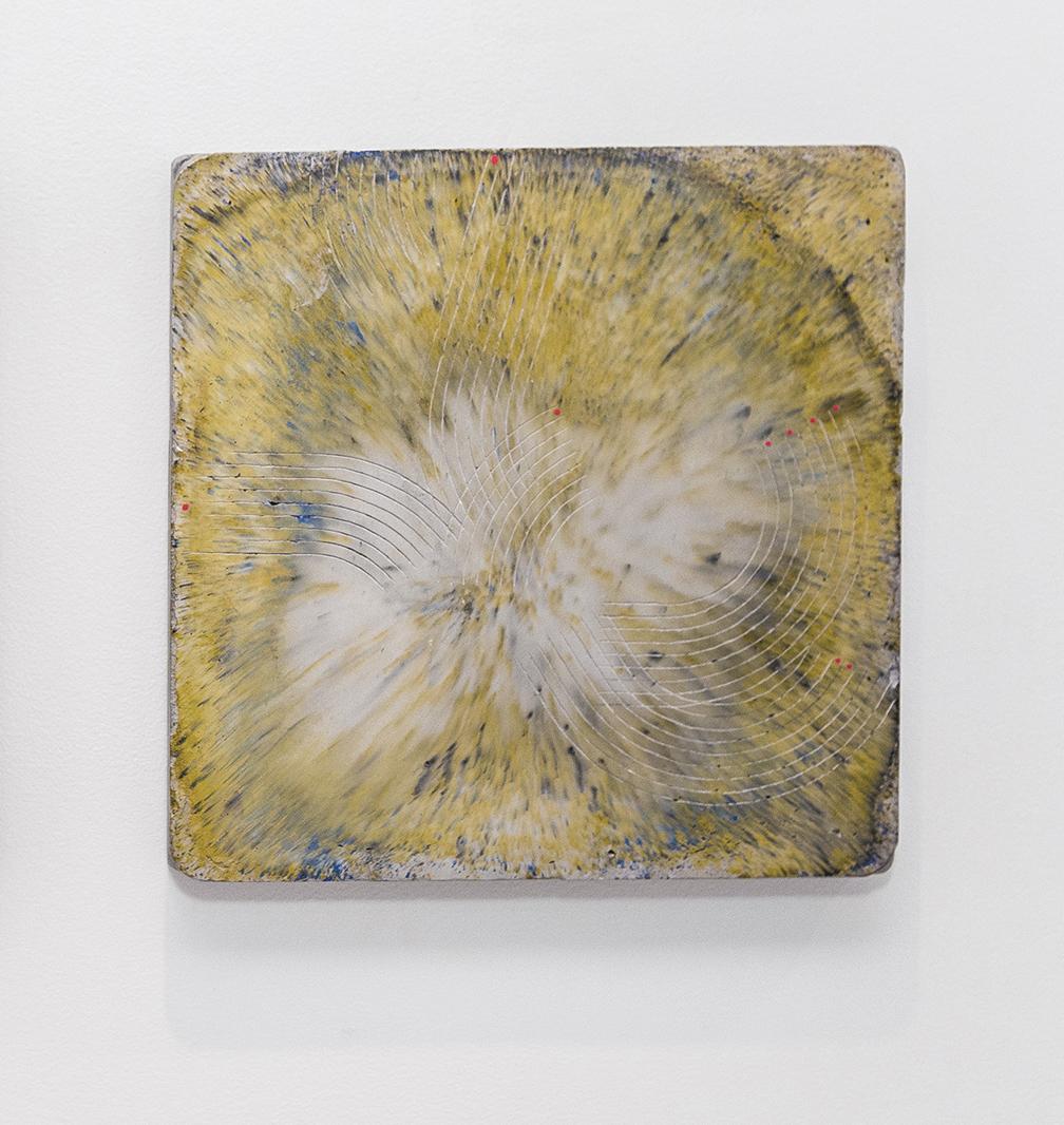 """Emily Weiskopf Butterfly Effect, 2016 Plaster, Concrete, Oxides, Enamel 12"""" x 12"""" x 1.5"""""""