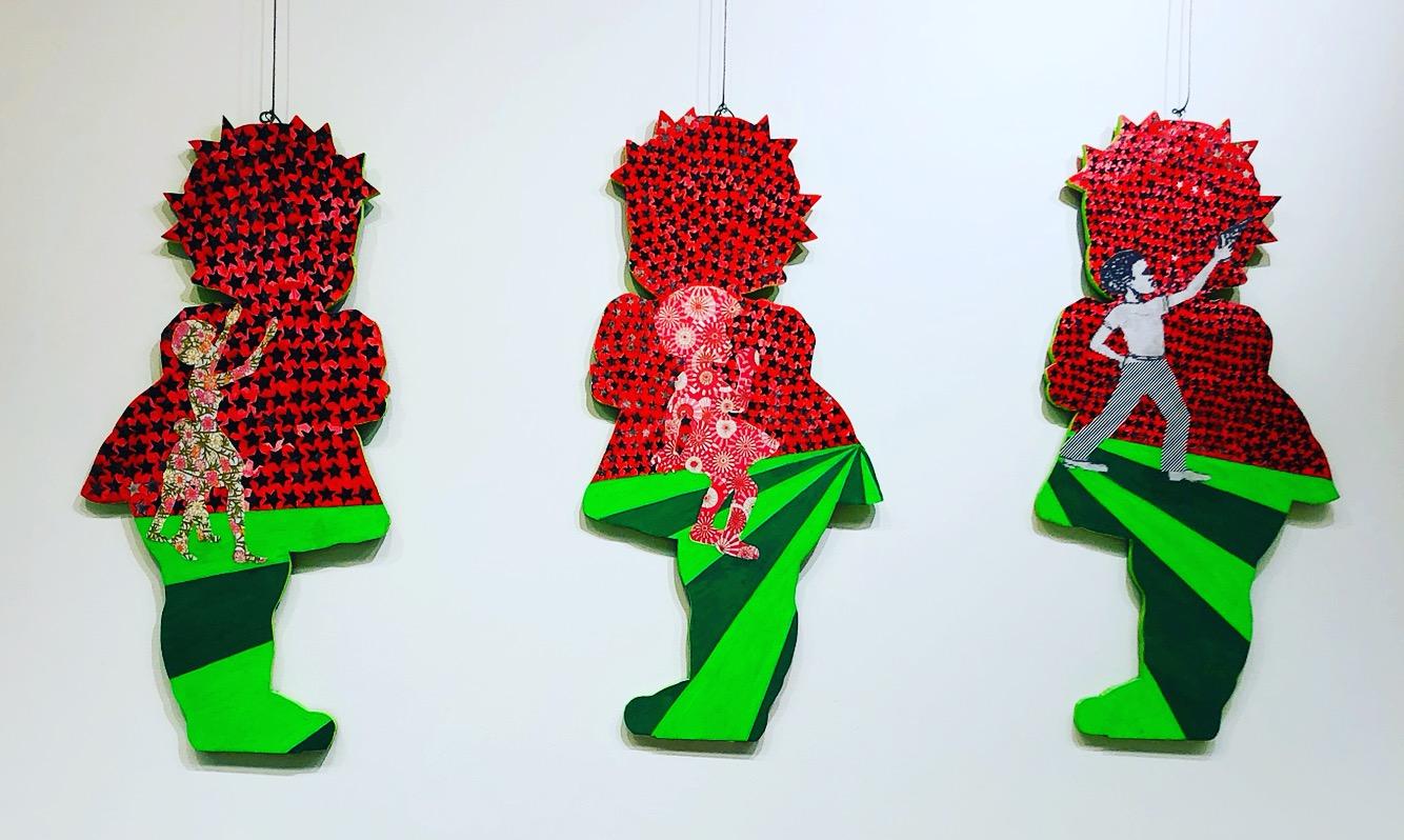 "Karmimadeeborah McMillan, Ms. Merri Mack Series (Who's Afraid Of The Red, Black & Green), Acrylic on Wood,  24 x 36"", 2018"