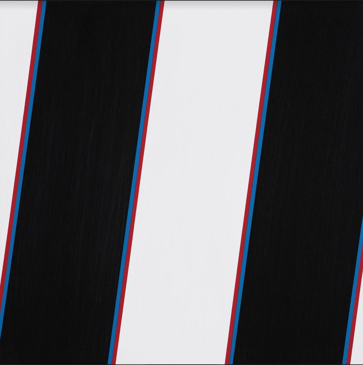 "Stripes 2, 36"" x 36"", Acrylic latex on panel, 2017"