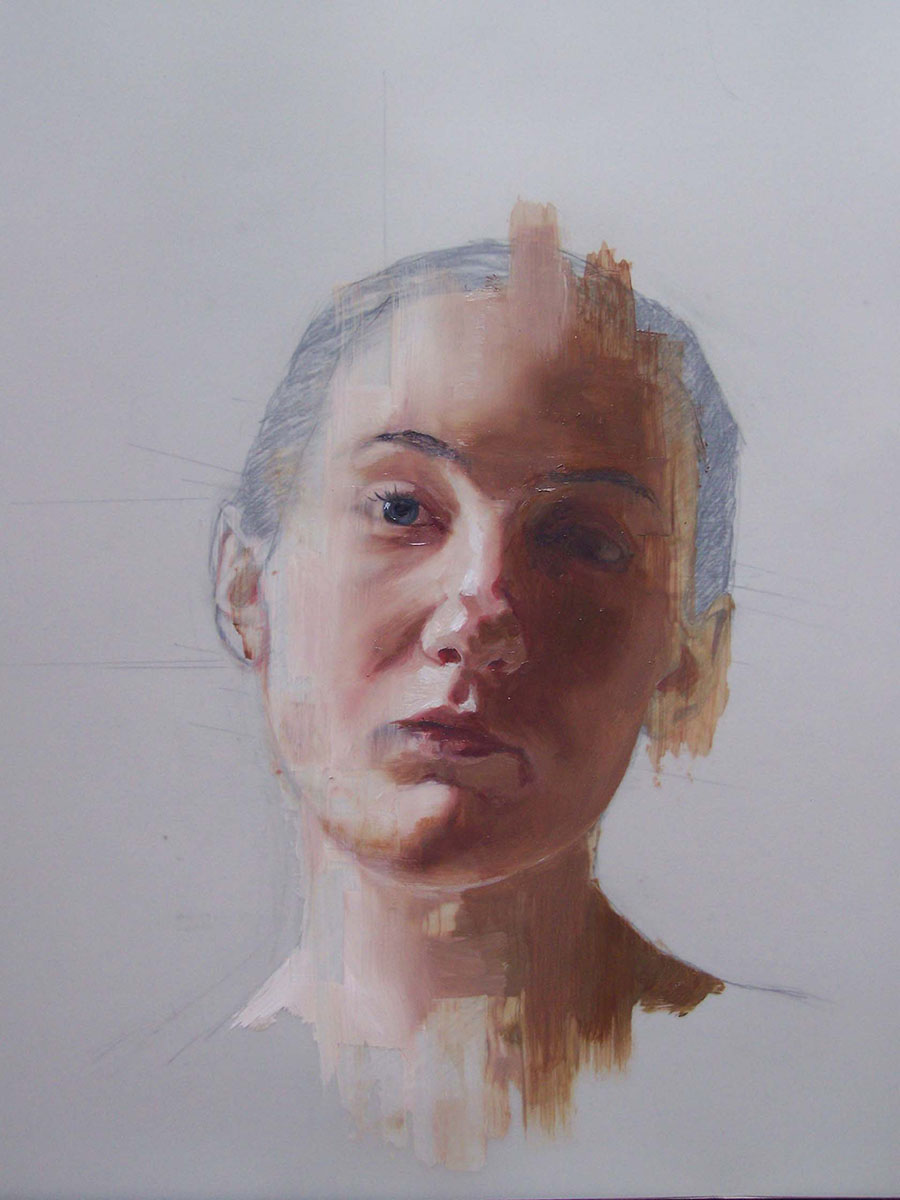"""Charity Henderson, Drawing Study II, Oil and Graphite on Denril, 11"""" x 14"""""""