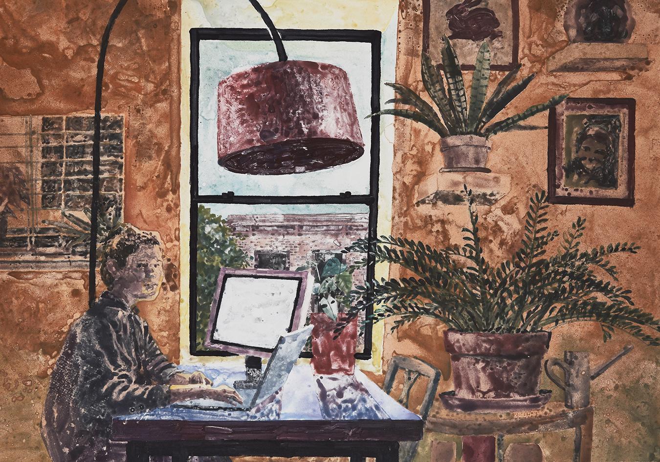"Marcelo Daldoce, Abby, Watercolor Monoprint, 23"" x 29"""