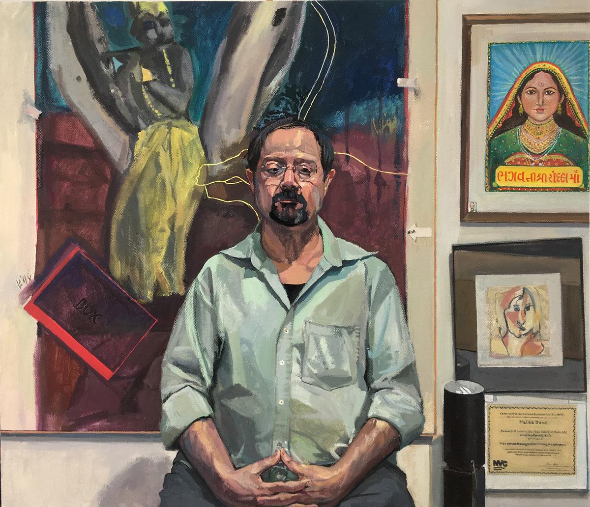 "Robert Bunkin, Portrait of Vinod Dave, Acrylic Matte on Canvas, 30"" x 26"""
