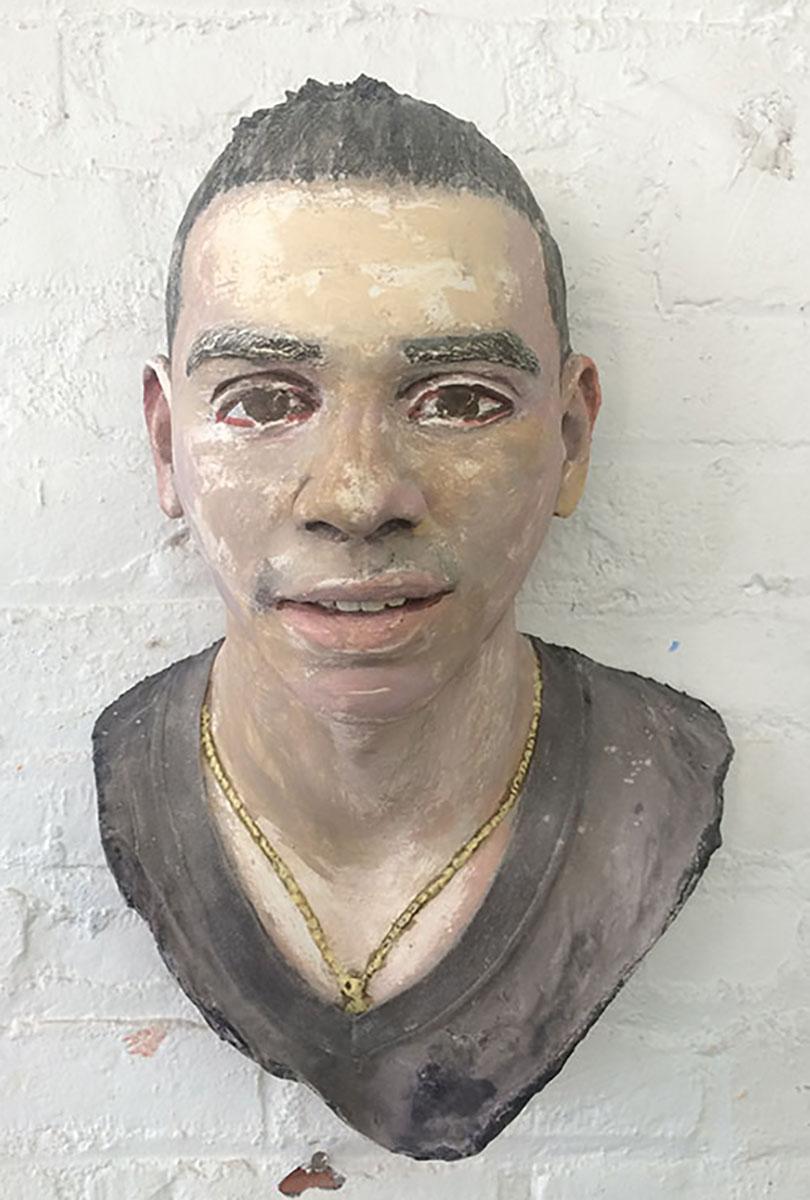 "John Ahearn Devon Acrylic on Plaster 17.5x11.75x8"""