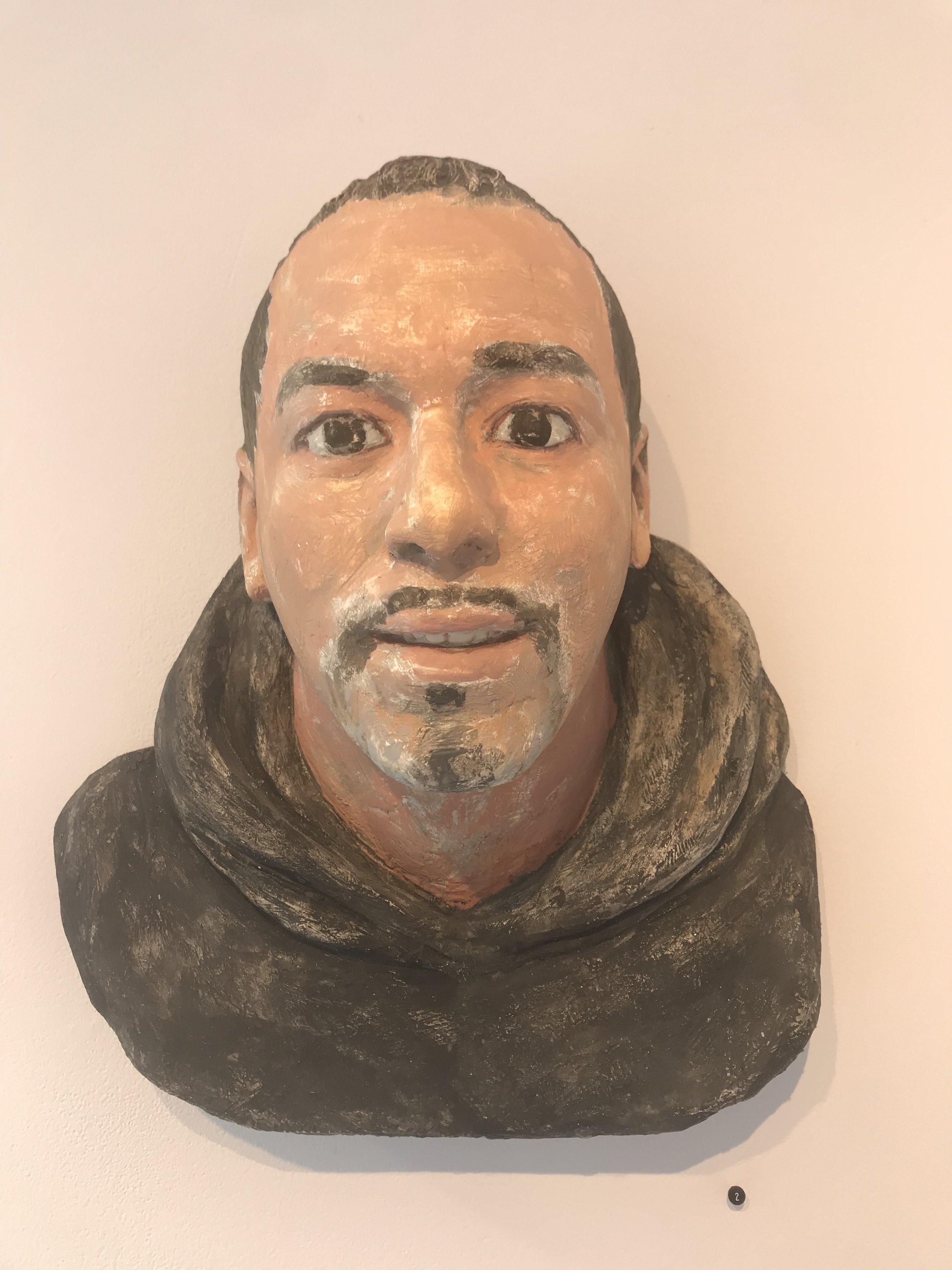 "John Ahearn BIO w. Black Hoodie Acrylic on Plaster 16x16x8"""