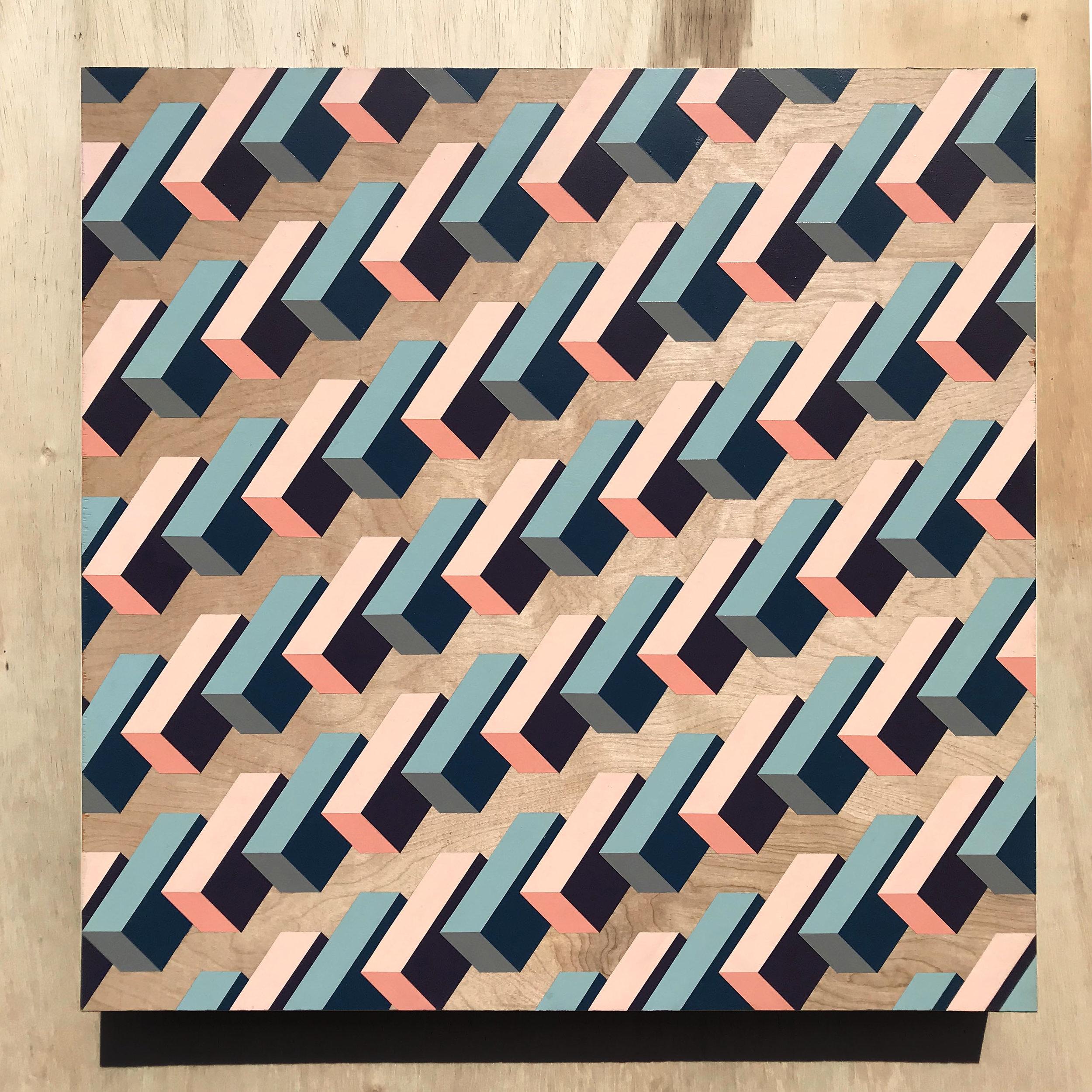 "Andrew Haan Float, 2018 Acrylic on Wood 24x24"""