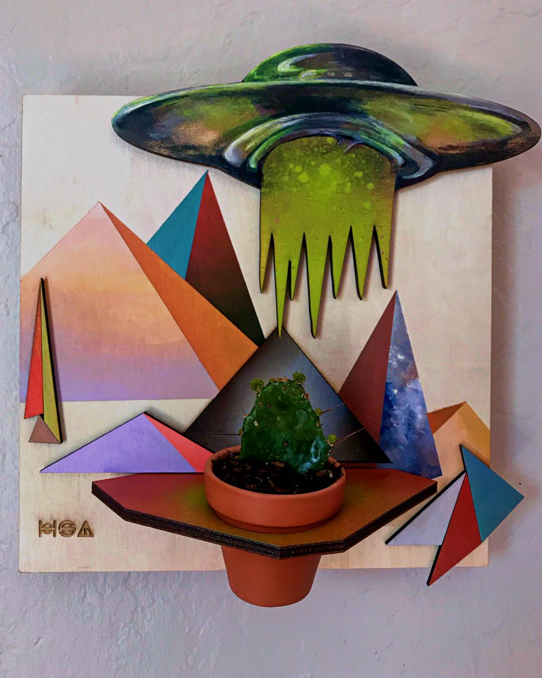 "Rachel Barnes Invaisive, 2018 Acrylic on Wood, Succulent 10x10x1.5"""