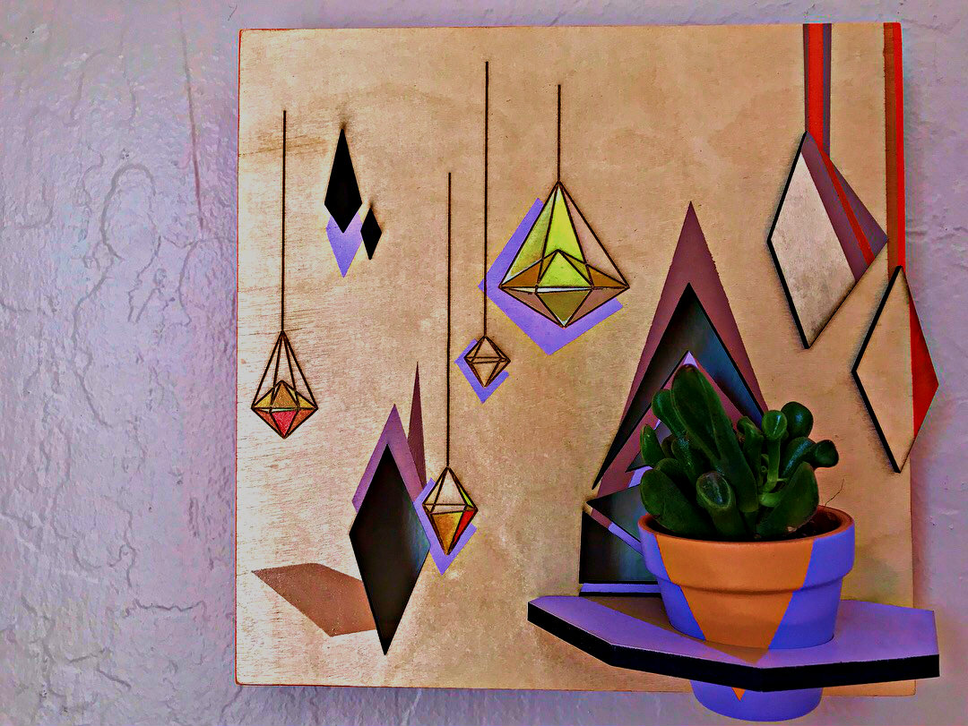 "Rachel Barnes Suspended, 2018 Acrylic on Wood, Succulent 10x10x1.5"""