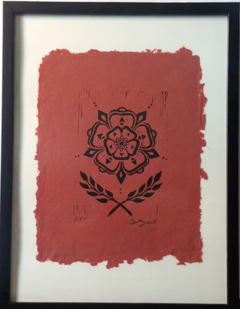 BR Knoerzer 5 Point Rose (Red) Linocut on Jaipur handmade paper with deckled edge, 5 x 7""