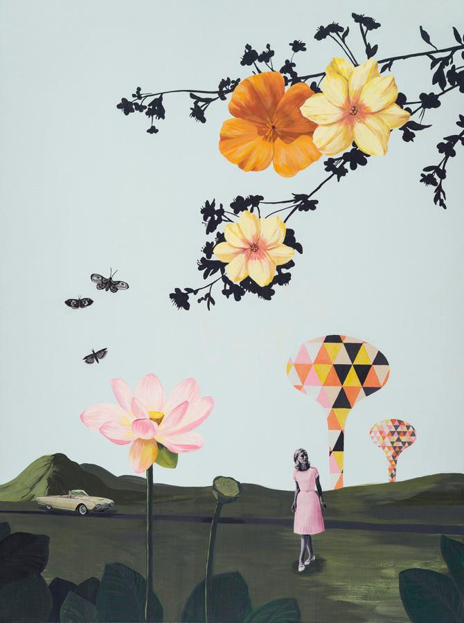 """Lauren Matsumoto Big World Acrylic and collage on cradled wood panel, 48 x 36"""""""