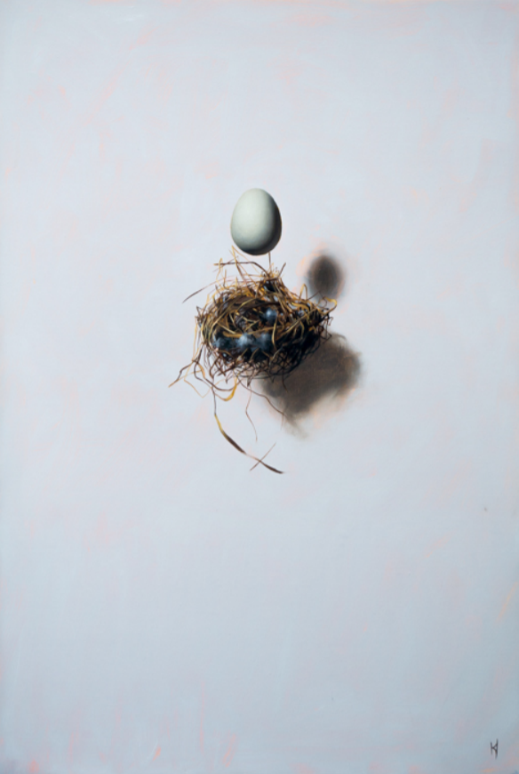 Kieran Ingram THE MUNDANE EGG Oil on canvas, 20 x 30""