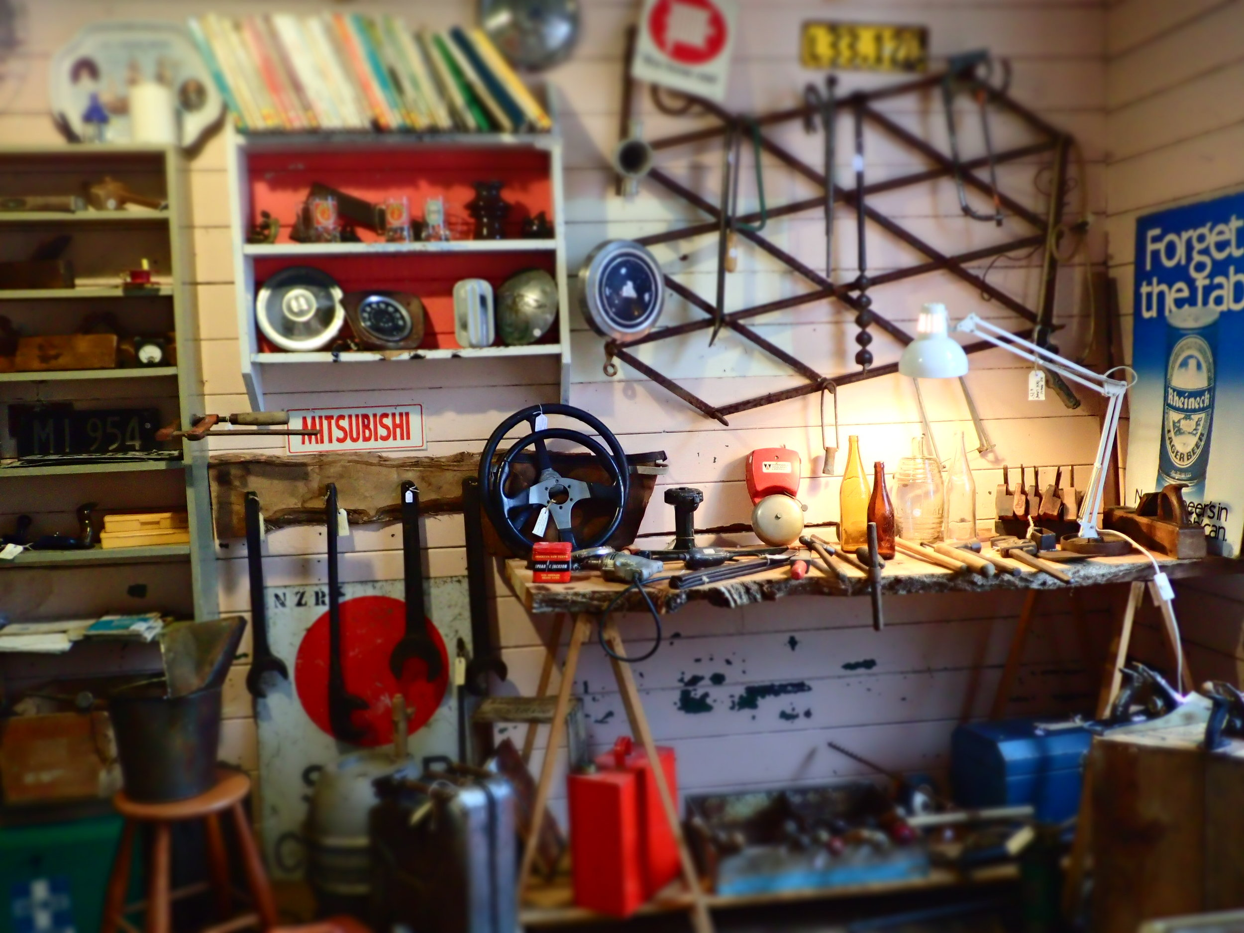 """Vintage & antique hand tools, automotive parts, NZ number plates, petrol & oil collectables,beer drinking & smoking paraphernalia, collectible bottles, , work shop essentials and more.  All in the """"they don't make them like that any more"""" vintage quality,."""