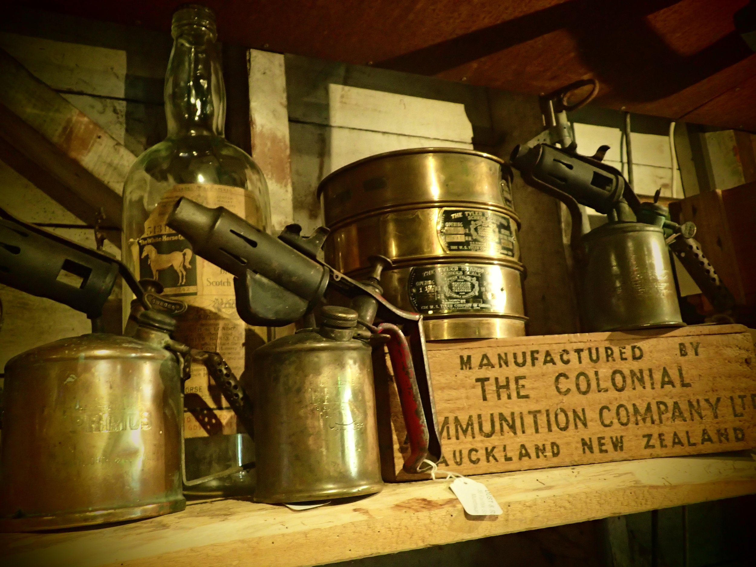 Brass gas blowtorches for a steampunk project or handy tool for the workshop? Brass goldmining sieves, made in Canada.