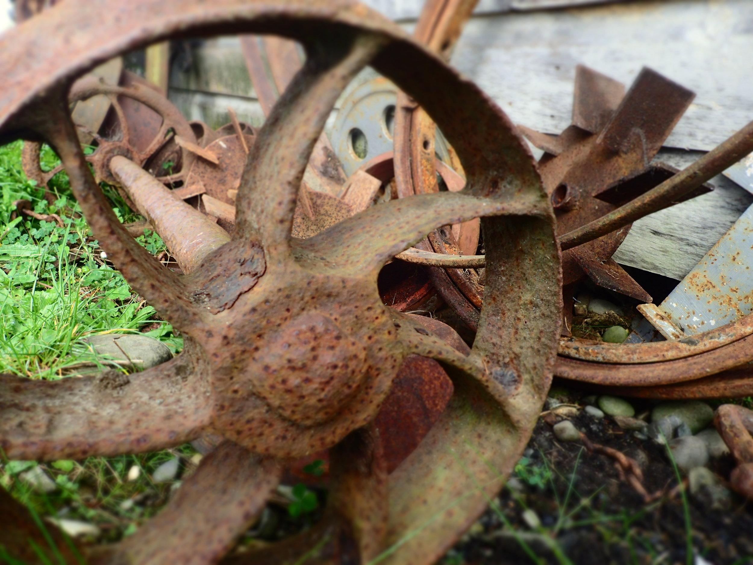 Old mining buggy tram wheels.