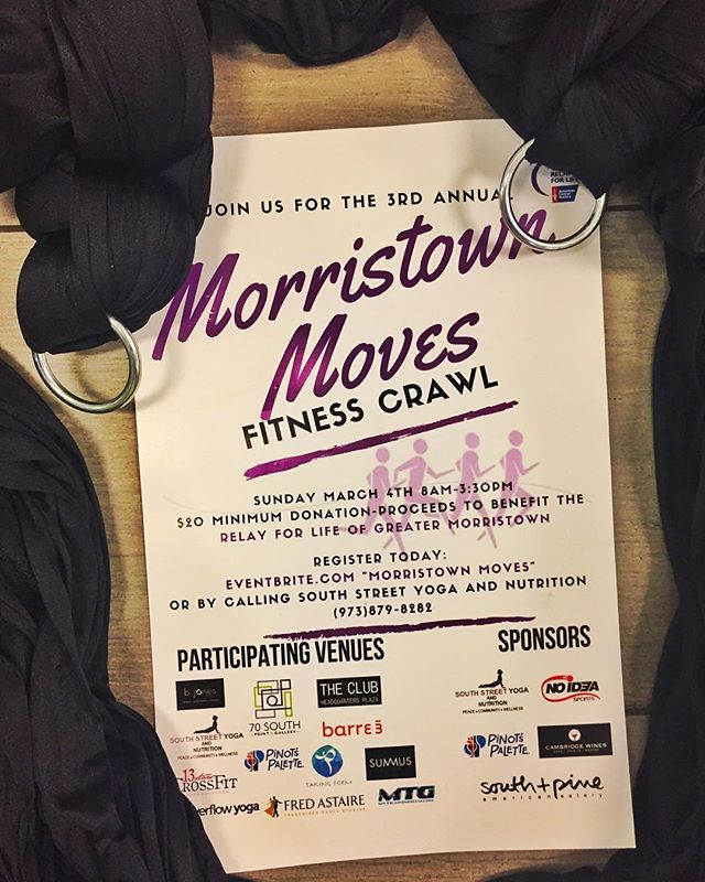 Please join us for the third annual @morristownmoves for Life Fitness Crawl! Morristown Moves is a community event bringing us together through fitness, wellness and health. Short classes will be offered at participating venues throughout town.  The classes are all donation-based and proceeds going Directly to the #americancancersocietyrelayforlife The Morristown chapter, Let's get moving while supporting a great cause.  This year's kick off breakfast Will be held at the Amazing @southandpine .  Delicious and wholesome food will get you fueled and ready to go.  Pick up your goodie bags and schedule while you were there.  The wrap party this year will be held at @pinotspalette with food and BYOB!  Make sure you stop by after your day on the town to enjoy our amazing raffle prizes, Don't miss out on some awesome prizes. ⬇️⬇️⬇️⬇️⬇️⬇️⬇️⬇️ https://www.eventbrite.com/e/2018-morristown-moves-fitness-crawl-tickets-42181057679  I will be teaching 5️⃣ classes 11 spots per class  9am 10am 11am  12pm 1pm  Reserve a spot as soon as possible you can Call-Text-DM or Email Name and time slot you'd like  Angel@TakingForm.Live (973)988-5913